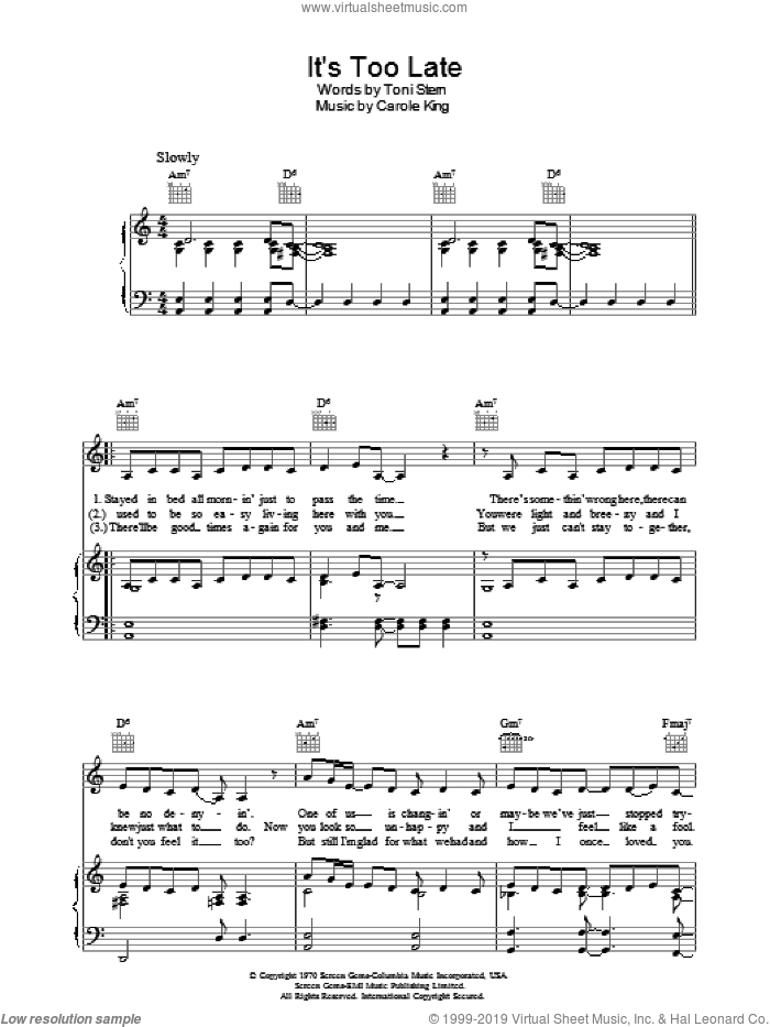 It's Too Late sheet music for voice, piano or guitar by Carole King and Toni Stern, intermediate skill level
