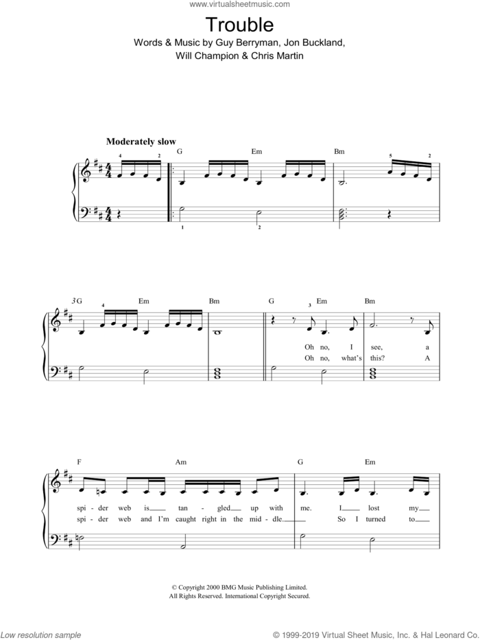 Trouble sheet music for piano solo by Coldplay, Chris Martin, G Berryman, Guy Berryman, J Jon Buckland, Jon Buckland, W & Martin, C Champion and Will Champion, easy skill level