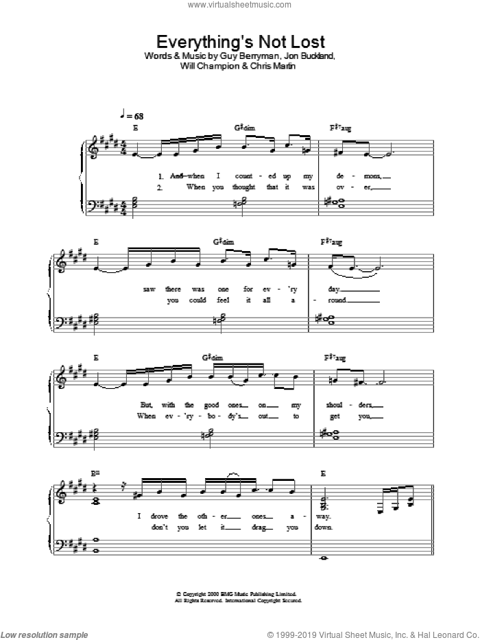 Everything's Not Lost sheet music for piano solo by Guy Berryman, Coldplay, Berryman,Guy, Buckland,Jon, Chris Martin, Jon Buckland and Will Champion, easy skill level