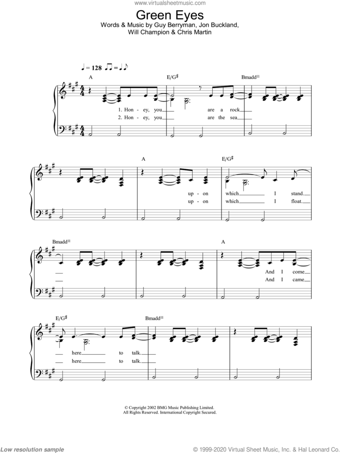 Green Eyes sheet music for piano solo by Coldplay, Chris Martin, Guy Berryman, Jon Buckland and Will Champion, easy skill level