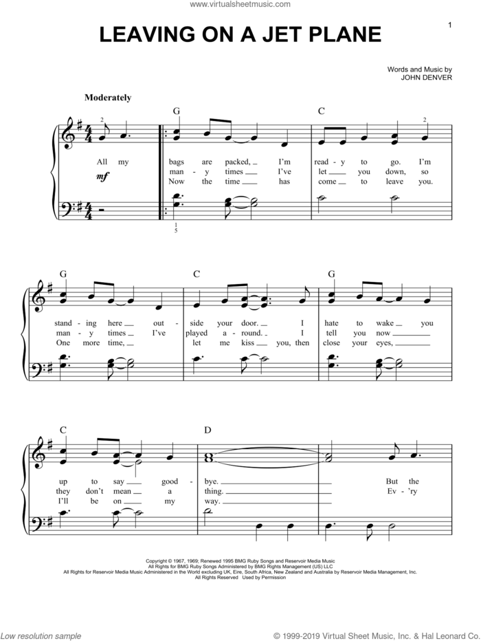 Leaving On A Jet Plane sheet music for piano solo by John Denver and Peter, Paul & Mary, easy skill level
