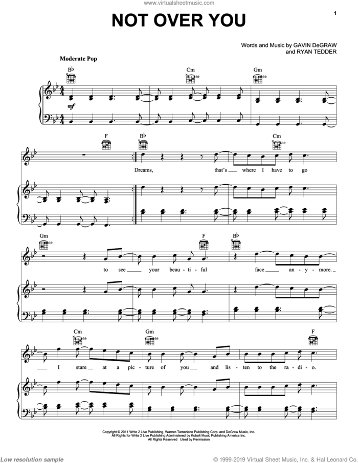 Not Over You sheet music for voice, piano or guitar by Gavin DeGraw and Ryan Tedder, intermediate skill level
