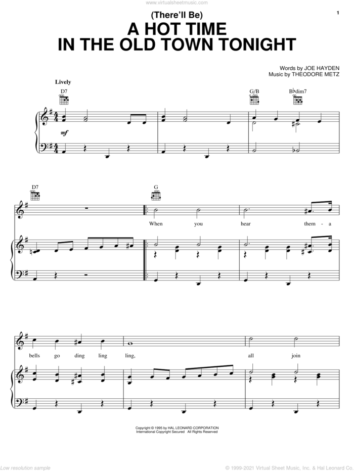 (There'll Be) A Hot Time In The Old Town Tonight sheet music for voice, piano or guitar by Bessie Smith, Joe Hayden and Theodore M. Metz, intermediate skill level