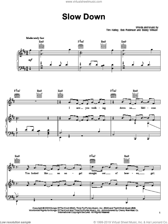 Slow Down sheet music for voice, piano or guitar by Bobby Valentino, Bob Robinson, Bobby Wilson and Tim Kelley, intermediate skill level