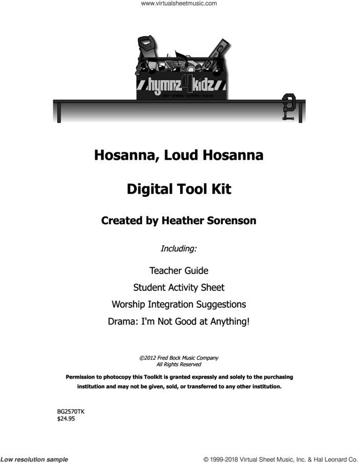 Hosanna, Loud Hosanna sheet music for choir (choral tool kit) by Heather Sorenson, intermediate skill level