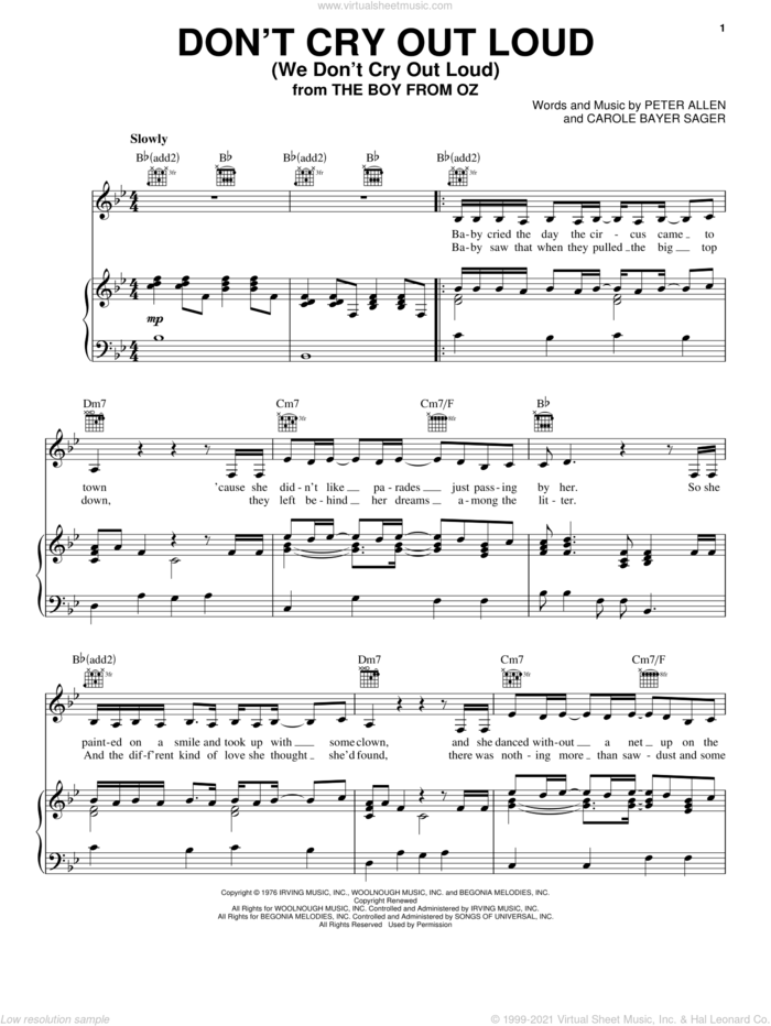Don't Cry Out Loud (We Don't Cry Out Loud) sheet music for voice, piano or guitar by Melissa Manchester, The Boy From Oz (Musical), Carole Bayer Sager and Peter Allen, intermediate skill level