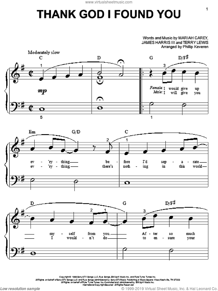Thank God I Found You sheet music for piano solo (big note book) by Mariah Carey featuring Joe & 98 Degrees, 98 Degrees, Joe, James Harris, Mariah Carey and Terry Lewis, easy piano (big note book)