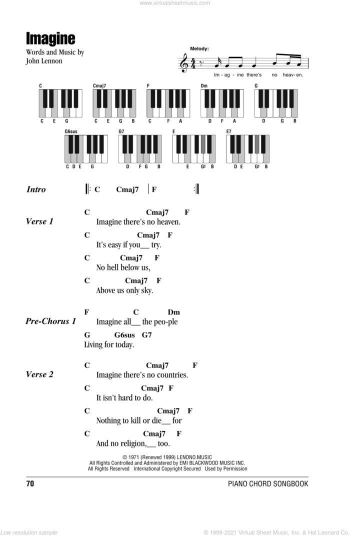 Imagine sheet music for piano solo (chords, lyrics, melody) by John Lennon, intermediate piano (chords, lyrics, melody)