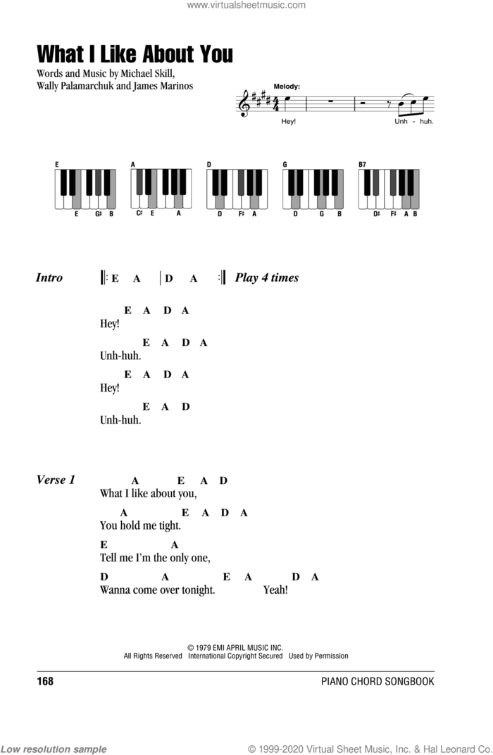 What I Like About You sheet music for piano solo (chords, lyrics, melody) by The Romantics, James Marinos, Michael Skill and Wally Palamarchuk, intermediate piano (chords, lyrics, melody)