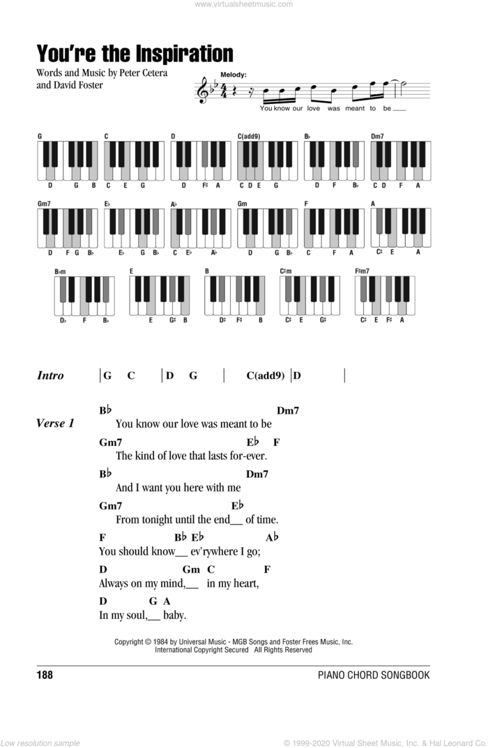 You're The Inspiration sheet music for piano solo (chords, lyrics, melody) by Chicago, David Foster and Peter Cetera, wedding score, intermediate piano (chords, lyrics, melody)