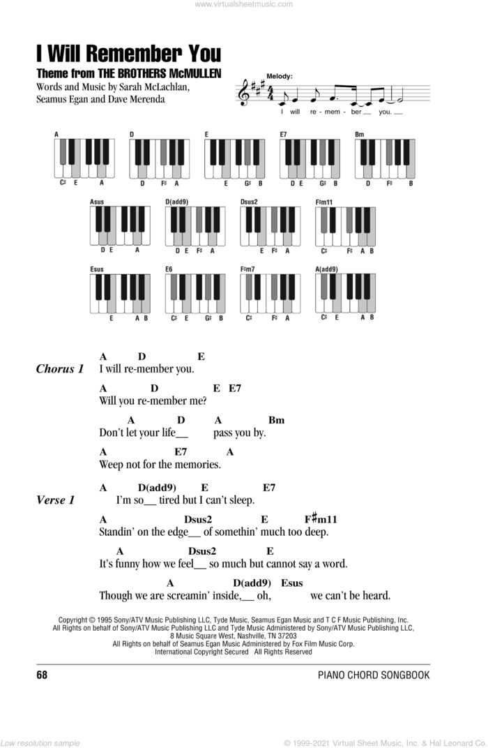 I Will Remember You sheet music for piano solo (chords, lyrics, melody) by Sarah McLachlan, Dave Merenda and Seamus Egan, intermediate piano (chords, lyrics, melody)
