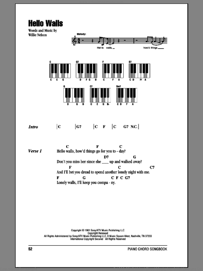 Hello Walls sheet music for piano solo (chords, lyrics, melody) by Faron Young and Willie Nelson, intermediate piano (chords, lyrics, melody)
