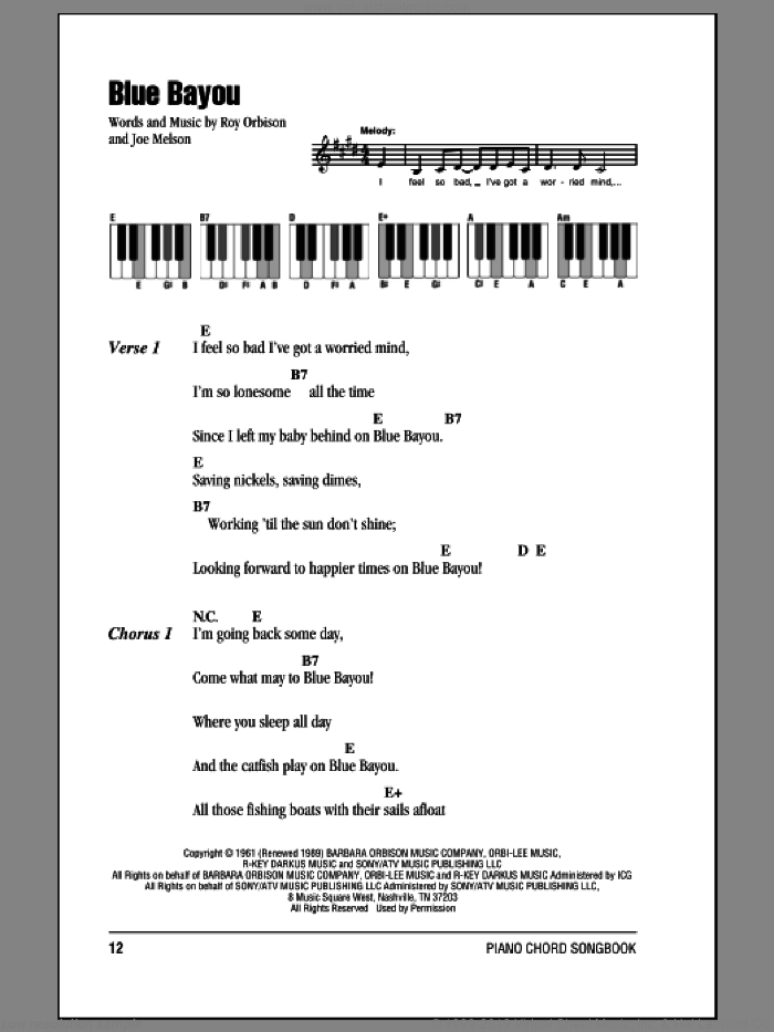 Blue Bayou sheet music for piano solo (chords, lyrics, melody) by Roy Orbison and Joe Melson, intermediate piano (chords, lyrics, melody)