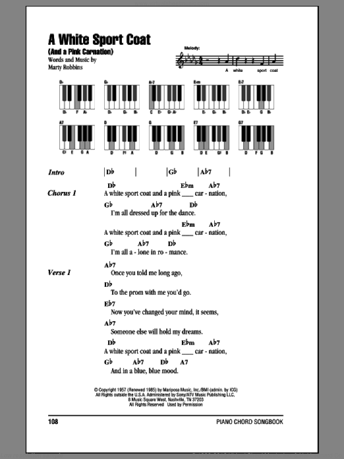 A White Sport Coat (And A Pink Carnation) sheet music for piano solo (chords, lyrics, melody) by Marty Robbins, intermediate piano (chords, lyrics, melody)
