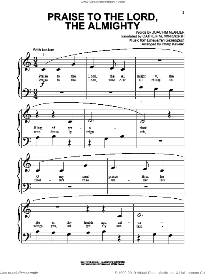 Praise To The Lord, The Almighty (arr. Phillip Keveren) sheet music for piano solo (big note book) by Joachim Neander, Phillip Keveren, Catherine Winkworth and Erneuerten Gesangbuch, easy piano (big note book)