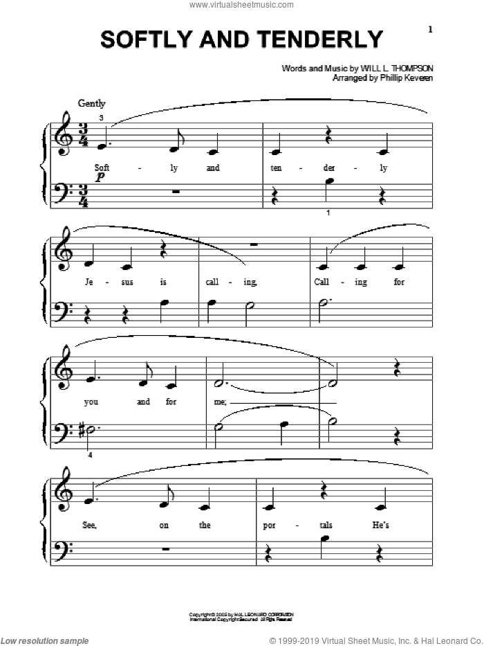 Softly And Tenderly (arr. Phillip Keveren) sheet music for piano solo (big note book) by Will L. Thompson and Phillip Keveren, easy piano (big note book)