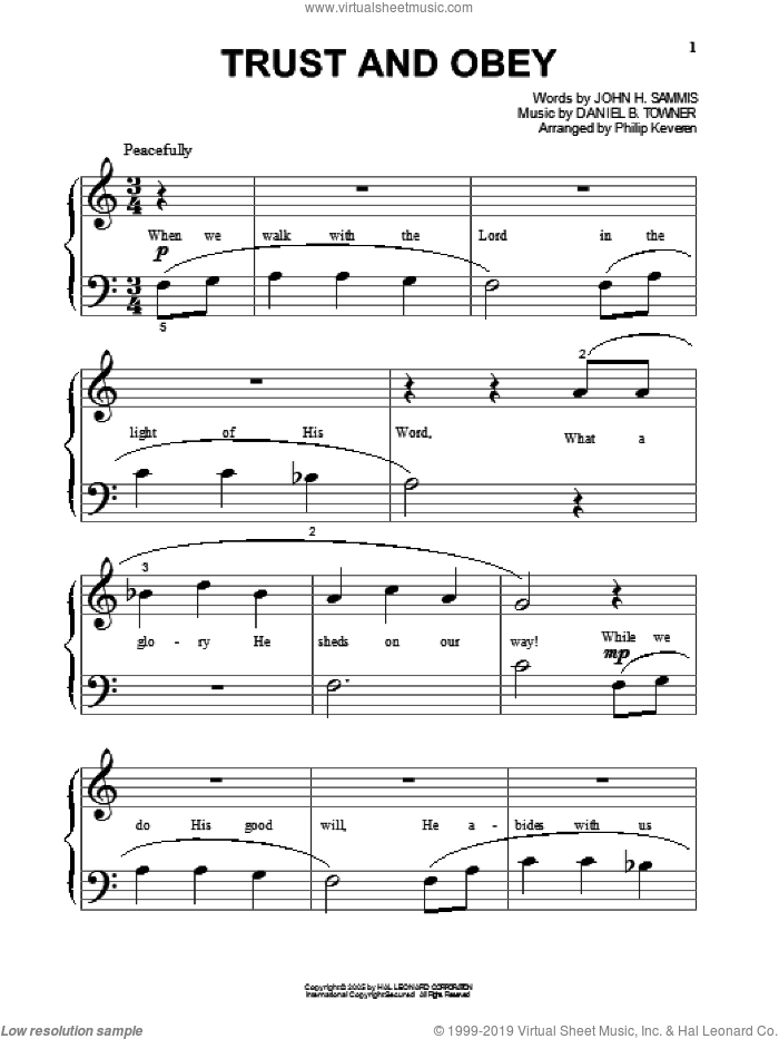 Trust And Obey (arr. Phillip Keveren) sheet music for piano solo (big note book) by John H. Sammis, Phillip Keveren and Daniel B. Towner, easy piano (big note book)