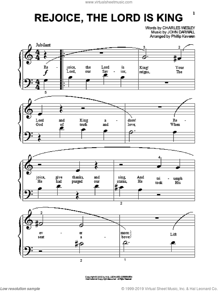 Rejoice, The Lord Is King (arr. Phillip Keveren) sheet music for piano solo (big note book) by Charles Wesley, Phillip Keveren and John Darwall, easy piano (big note book)