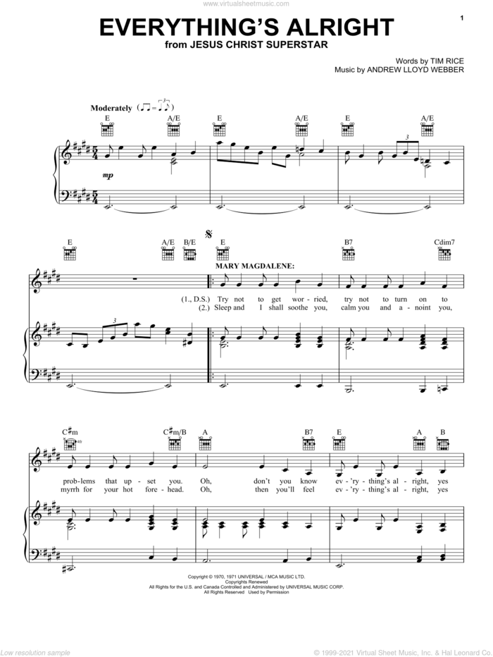 Everything's Alright (from Jesus Christ Superstar) sheet music for voice, piano or guitar by Andrew Lloyd Webber, Jesus Christ Superstar (Musical), Yvonne Elliman and Tim Rice, intermediate skill level