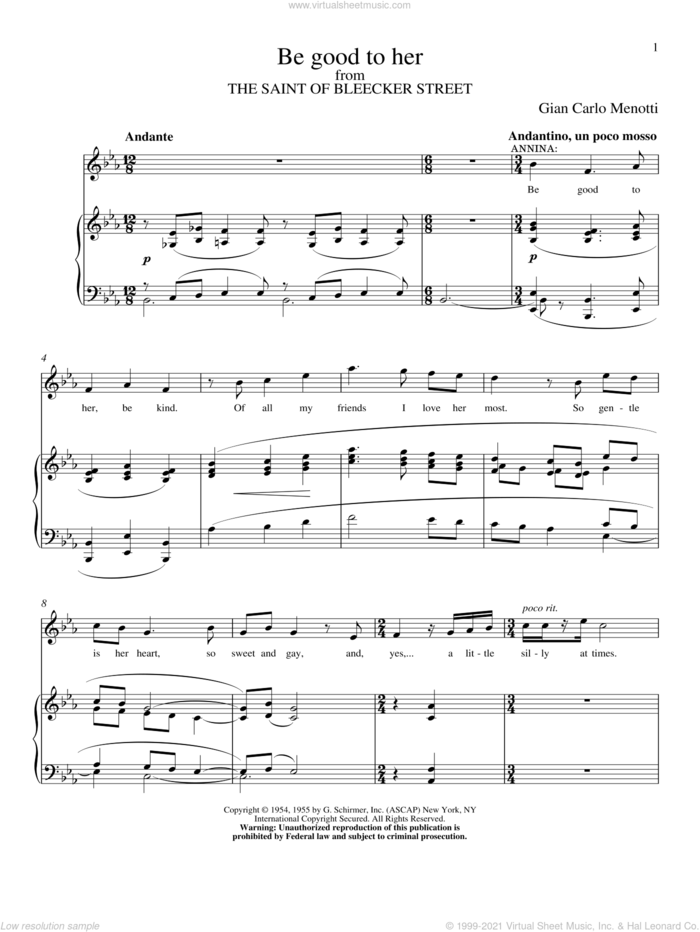 Be Good To Her sheet music for voice and piano by Gian Carlo Menotti, classical score, intermediate skill level