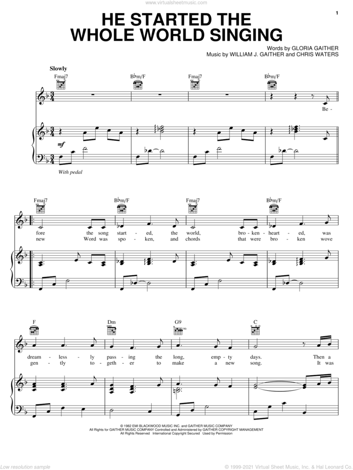He Started The Whole World Singing sheet music for voice, piano or guitar by Bill & Gloria Gaither, Chris Waters, Gloria Gaither and William J. Gaither, intermediate skill level
