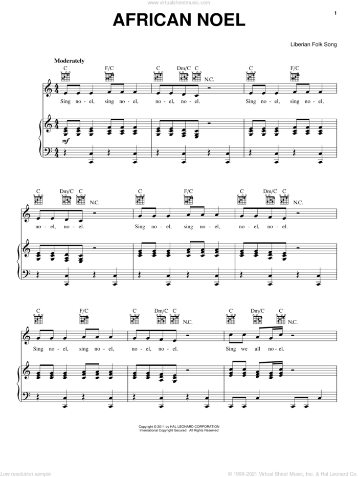 African Noel sheet music for voice, piano or guitar by Liberian Folk Song, intermediate skill level