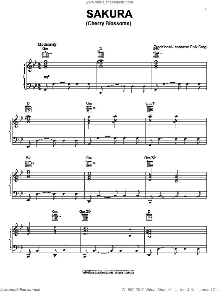 Sakura (Cherry Blossoms) sheet music for piano solo, intermediate skill level