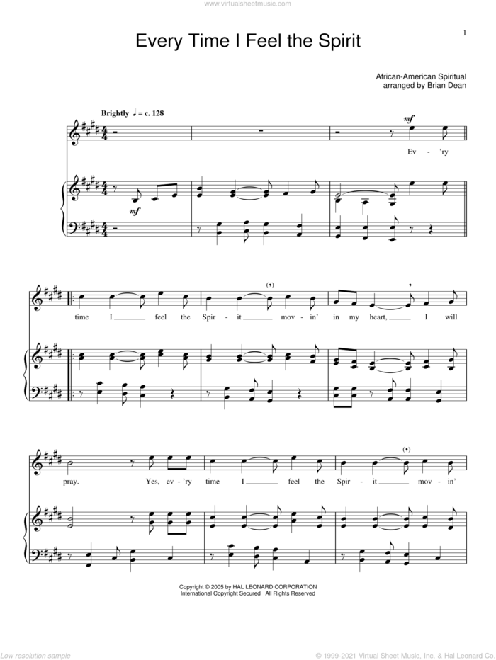 Every Time I Feel The Spirit sheet music for voice and piano, intermediate skill level