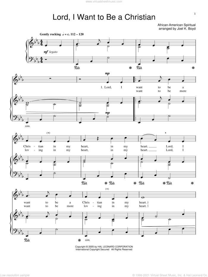 Lord, I Want To Be A Christian sheet music for voice and piano, classical score, intermediate skill level
