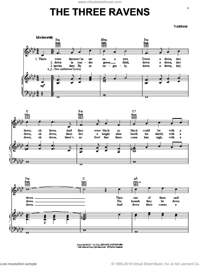 The Three Ravens sheet music for voice, piano or guitar, intermediate skill level