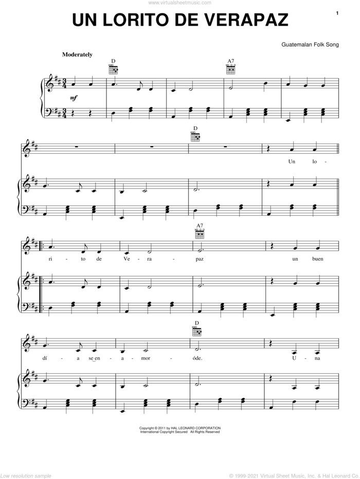 Un Lorito De Verapaz sheet music for voice, piano or guitar by Guatemalan Folk Song, intermediate skill level