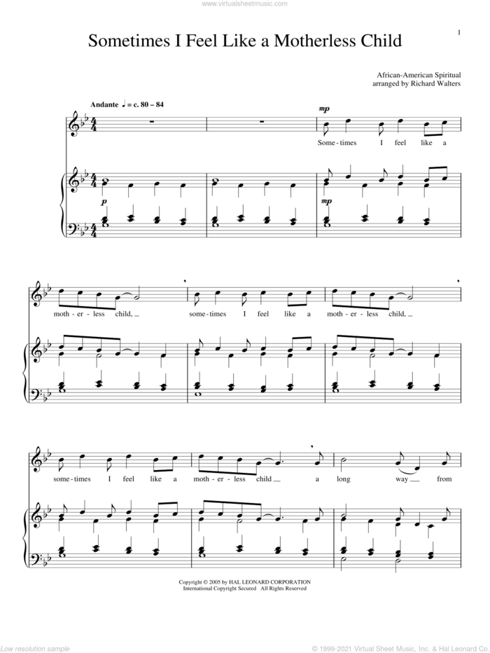 Sometimes I Feel Like A Motherless Child sheet music for voice and piano, intermediate skill level