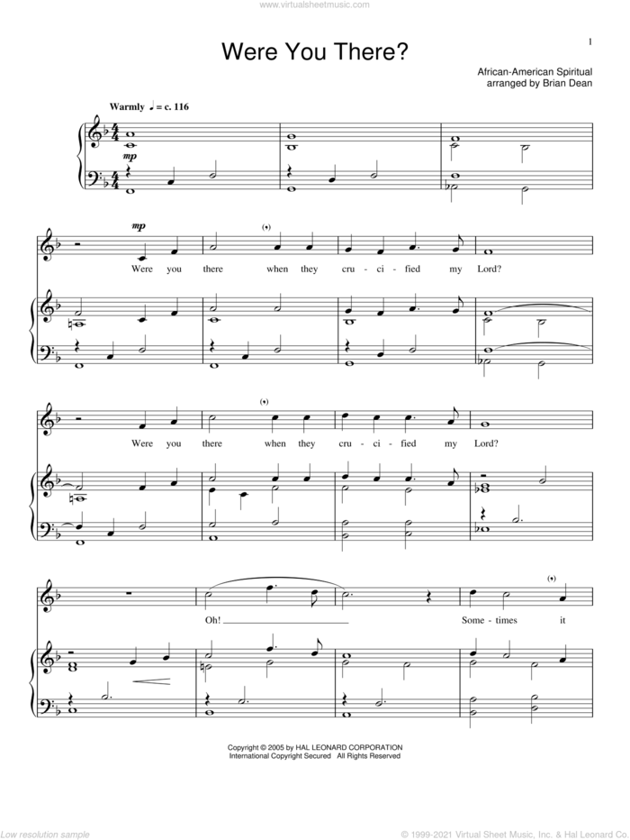 Were You There? sheet music for voice and piano, intermediate skill level