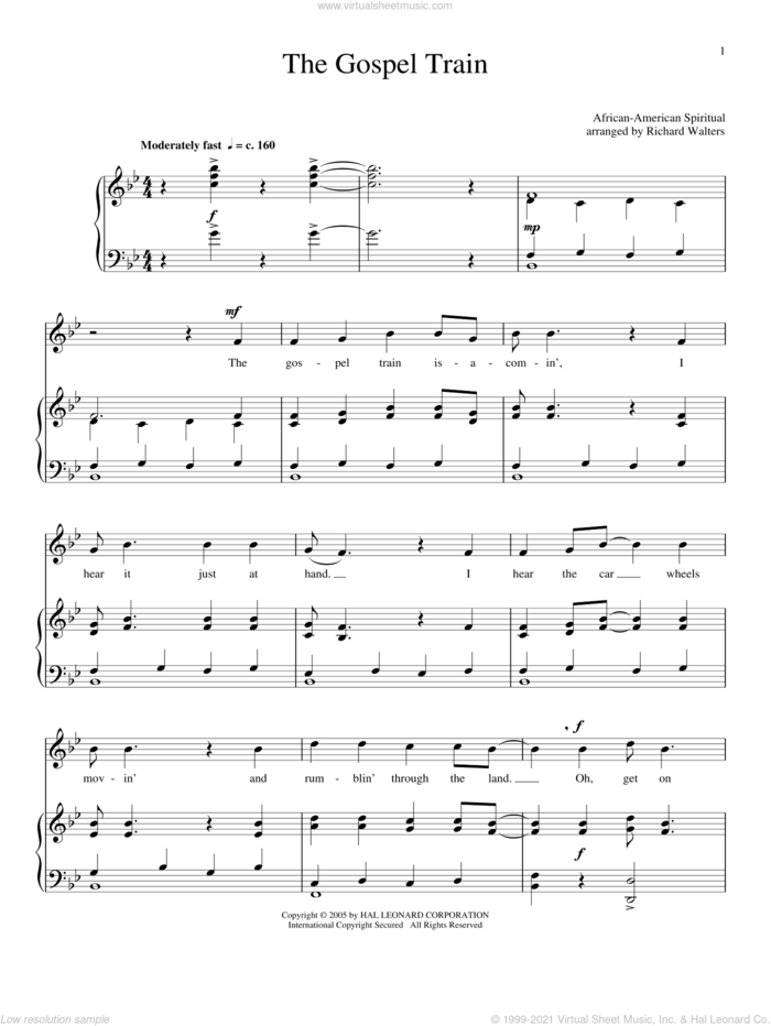 The Gospel Train sheet music for voice and piano, intermediate skill level