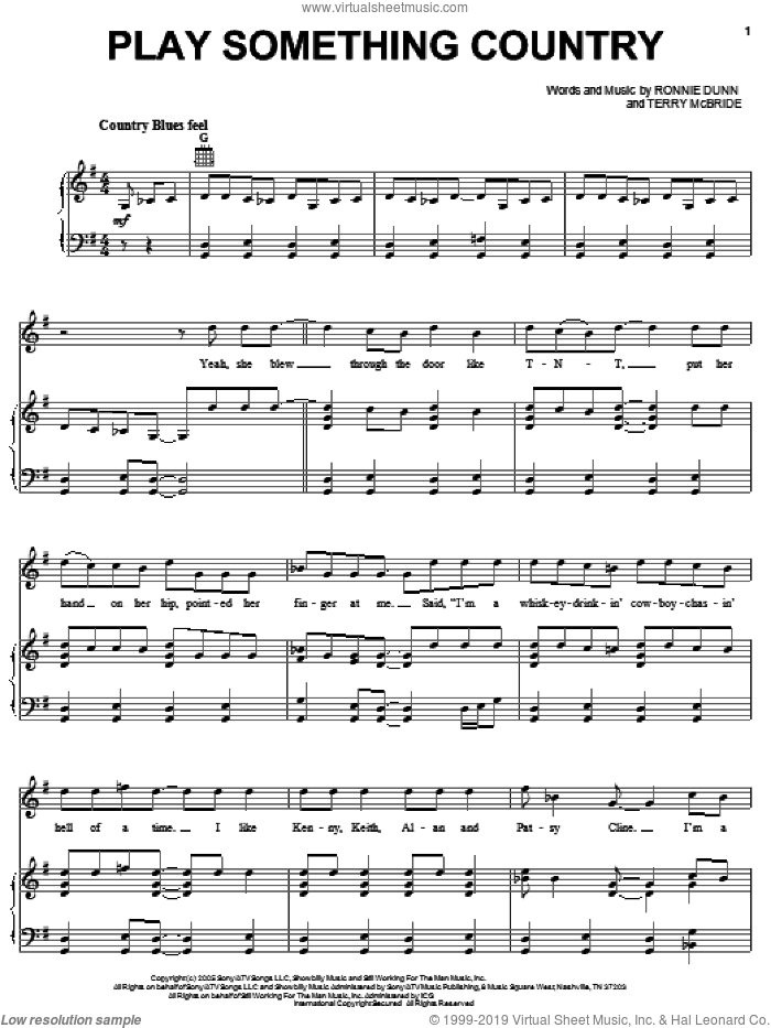 Play Something Country sheet music for voice, piano or guitar by Brooks & Dunn, Ronnie Dunn and Terry McBride, intermediate skill level