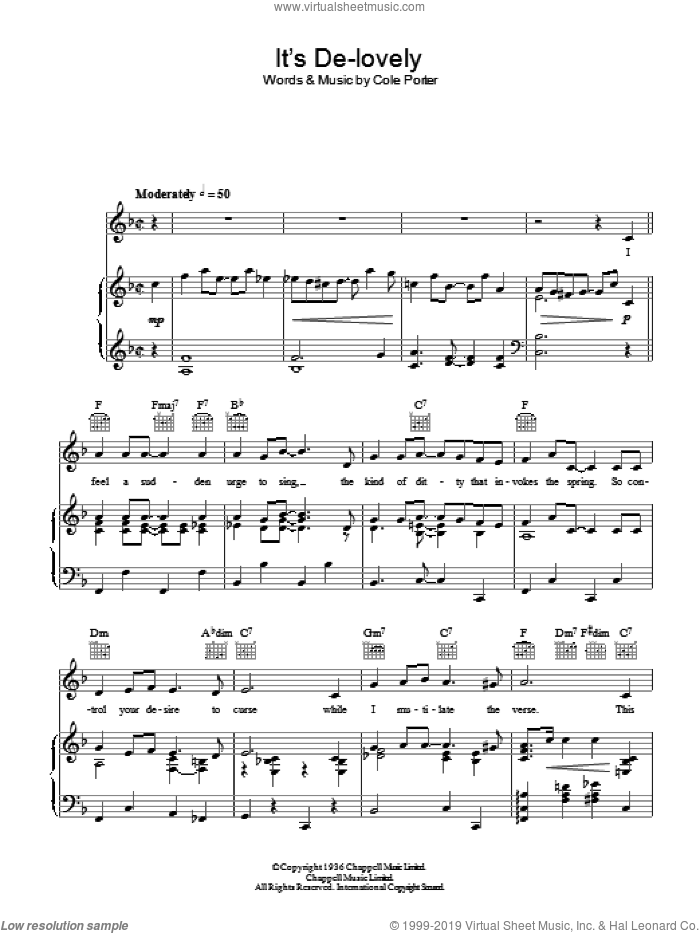 It's De-Lovely sheet music for voice, piano or guitar by Ethel Merman and Cole Porter, intermediate skill level