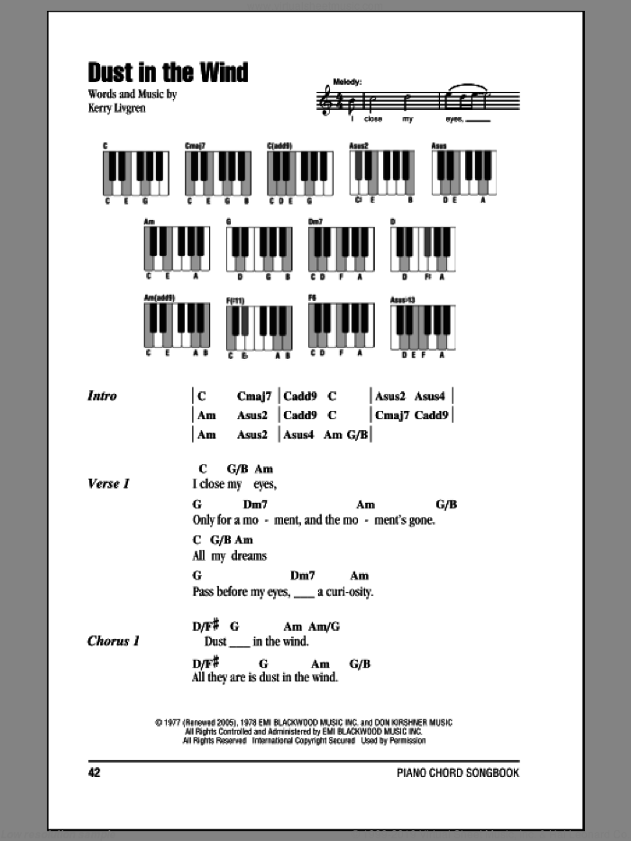 Dust In The Wind sheet music for piano solo (chords, lyrics, melody) by Kansas and Kerry Livgren, intermediate piano (chords, lyrics, melody)