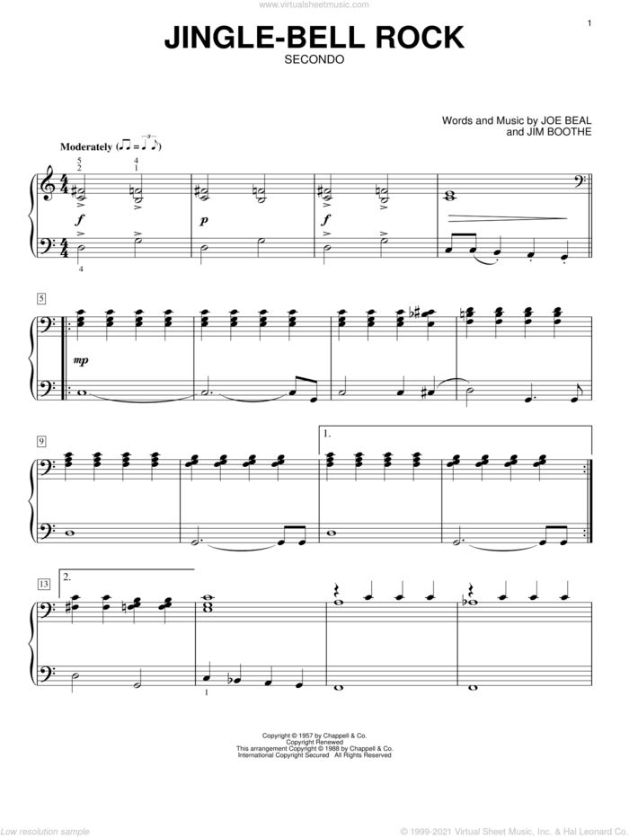 Jingle-Bell Rock sheet music for piano four hands by Bobby Helms, Jim Boothe and Joe Beal, intermediate skill level