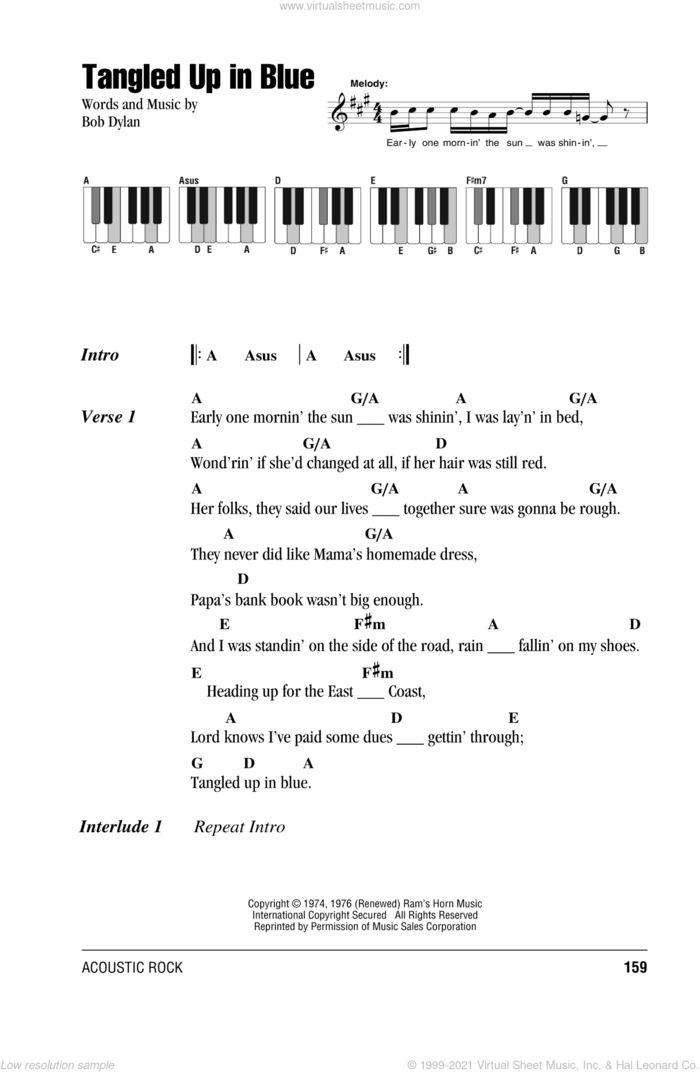 Tangled Up In Blue sheet music for piano solo (chords, lyrics, melody) by Bob Dylan, intermediate piano (chords, lyrics, melody)