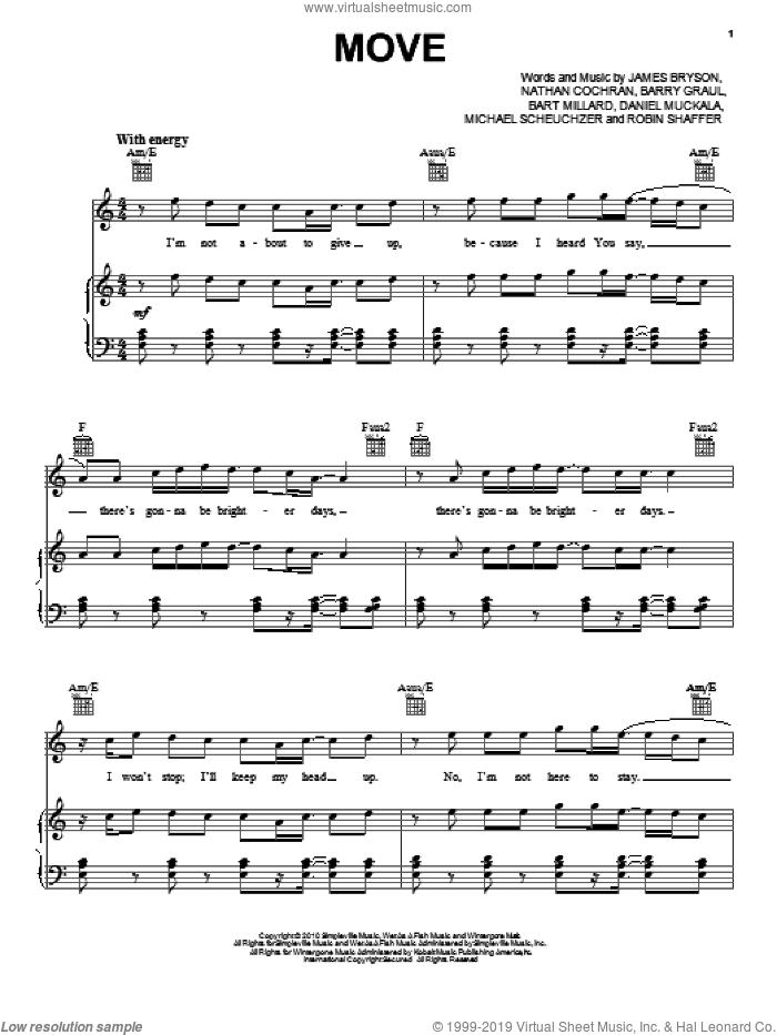 Move sheet music for voice, piano or guitar by MercyMe, Barry Graul, Bart Millard, Dan Muckala, James Bryson, Michael Scheuchzer, Nathan Cochran and Robin Shaffer, intermediate skill level