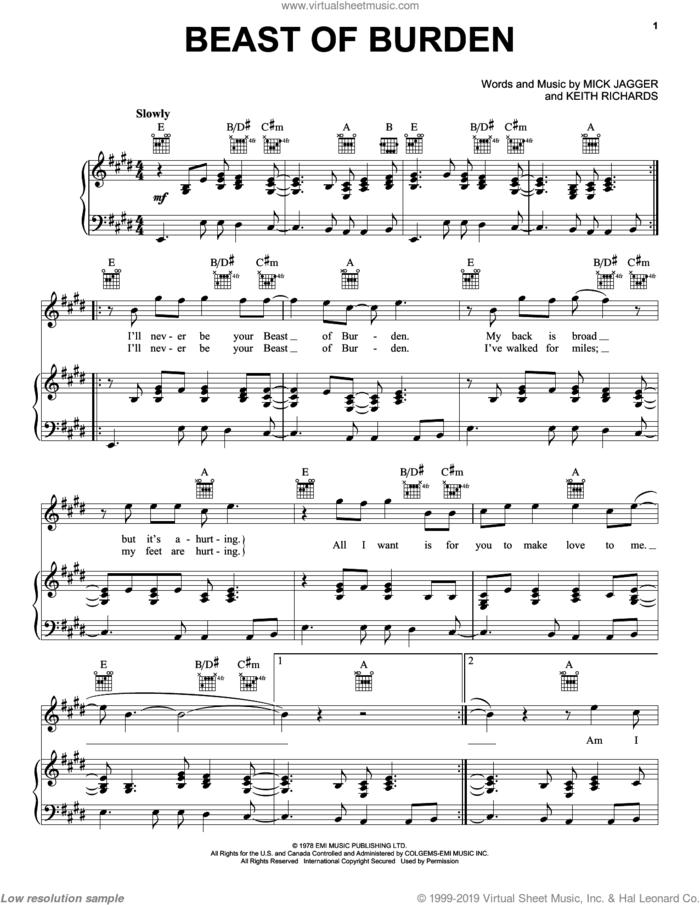 Beast Of Burden sheet music for voice, piano or guitar by The Rolling Stones, Bette Midler, Keith Richards and Mick Jagger, intermediate skill level