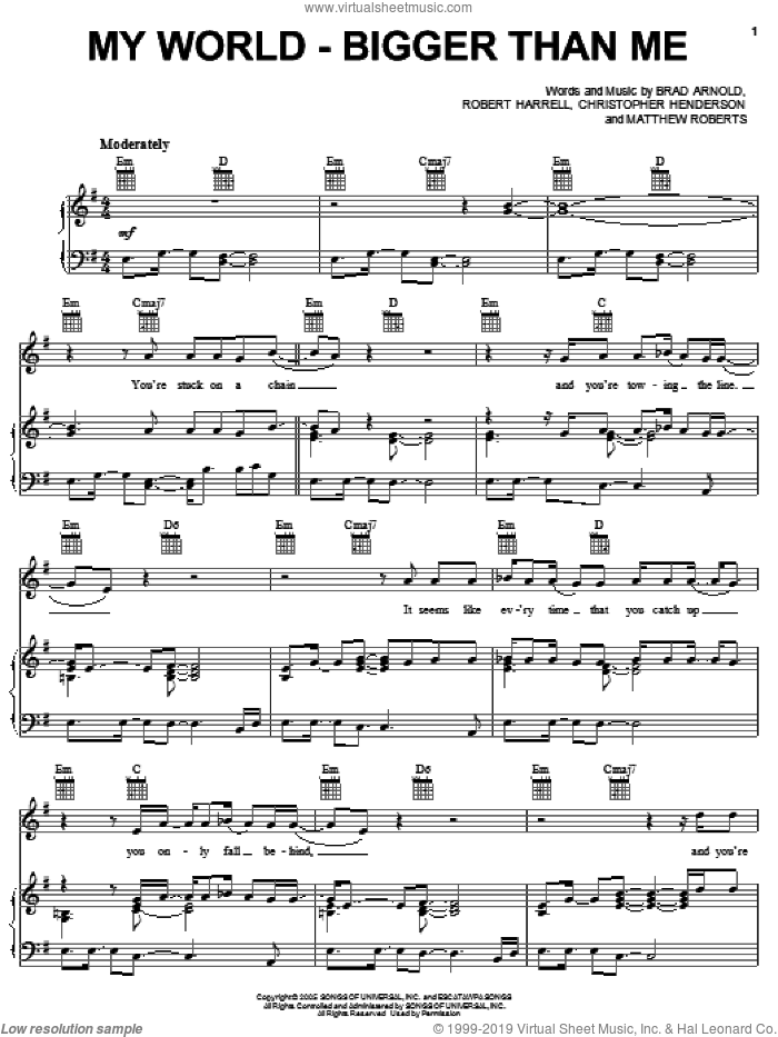 My World - Bigger Than Me sheet music for voice, piano or guitar by 3 Doors Down, Brad Arnold, Christopher Henderson, Matthew Roberts and Robert Harrell, intermediate skill level