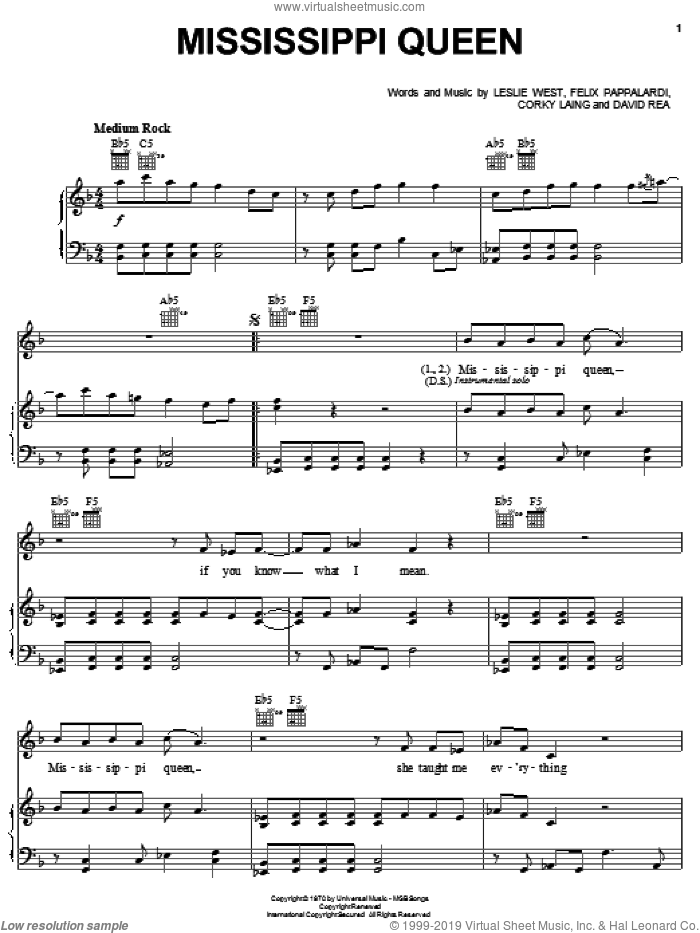 Mississippi Queen sheet music for voice, piano or guitar by Mountain, Corky Laing, David Rea, Felix Pappalardi and Leslie West, intermediate skill level