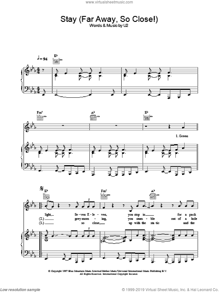 Stay (Faraway, So Close!) sheet music for voice, piano or guitar by U2 and Bono, intermediate skill level