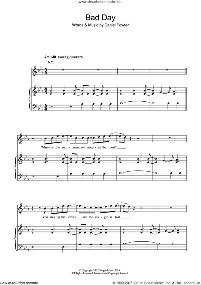 Bad Day sheet music for voice, piano or guitar by Daniel Powter, intermediate skill level