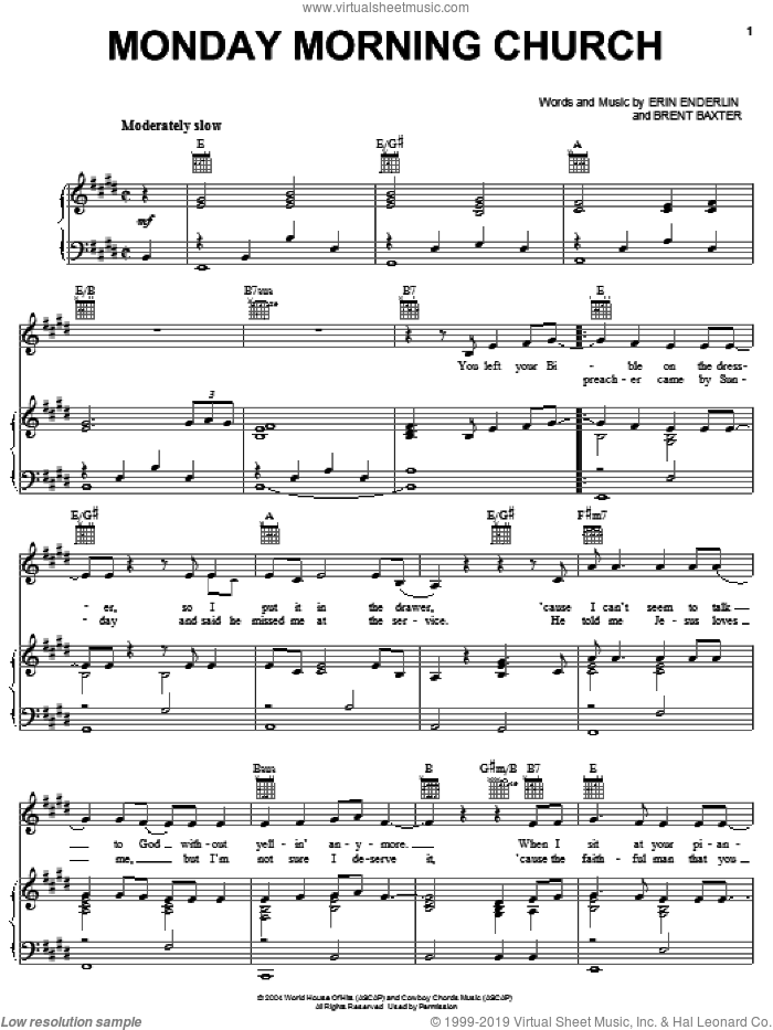 Monday Morning Church sheet music for voice, piano or guitar by Alan Jackson, Brent Baxter and Erin Enderlin, intermediate skill level