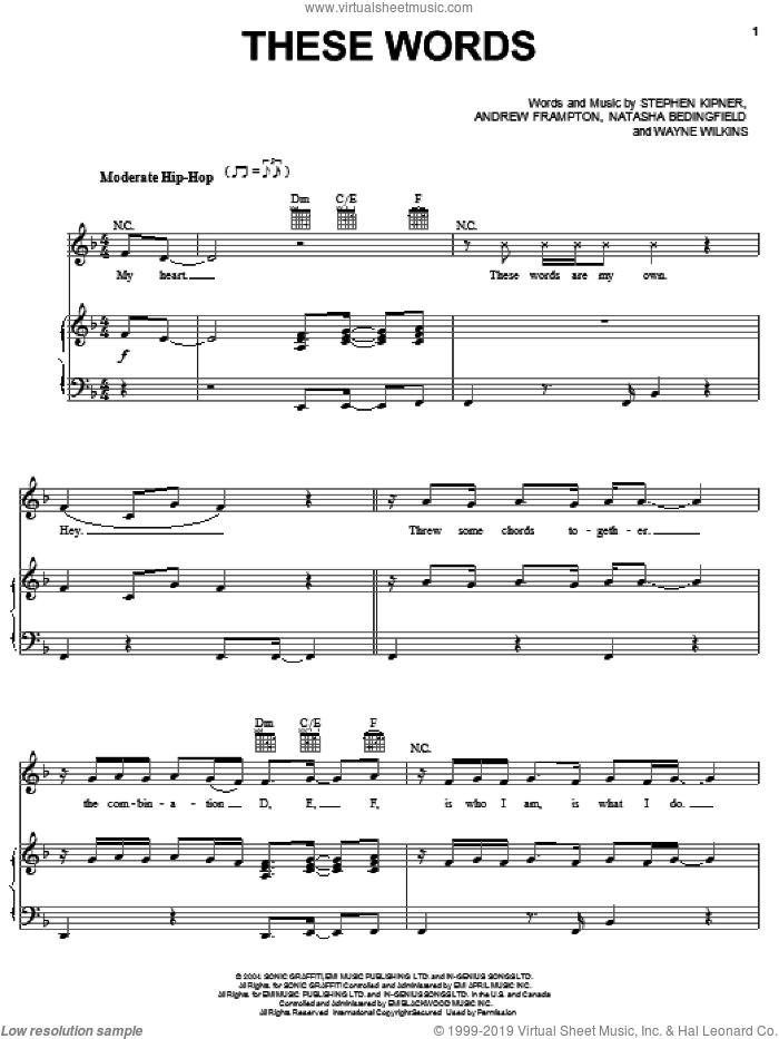 These Words sheet music for voice, piano or guitar by Natasha Bedingfield, Andrew Frampton, Steve Kipner and Wayne Wilkins, intermediate skill level