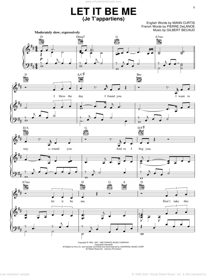 Let It Be Me (Je T'appartiens) sheet music for voice, piano or guitar by Neil Diamond, Gilbert Becaud, Mann Curtis and Pierre Delanoe, intermediate skill level