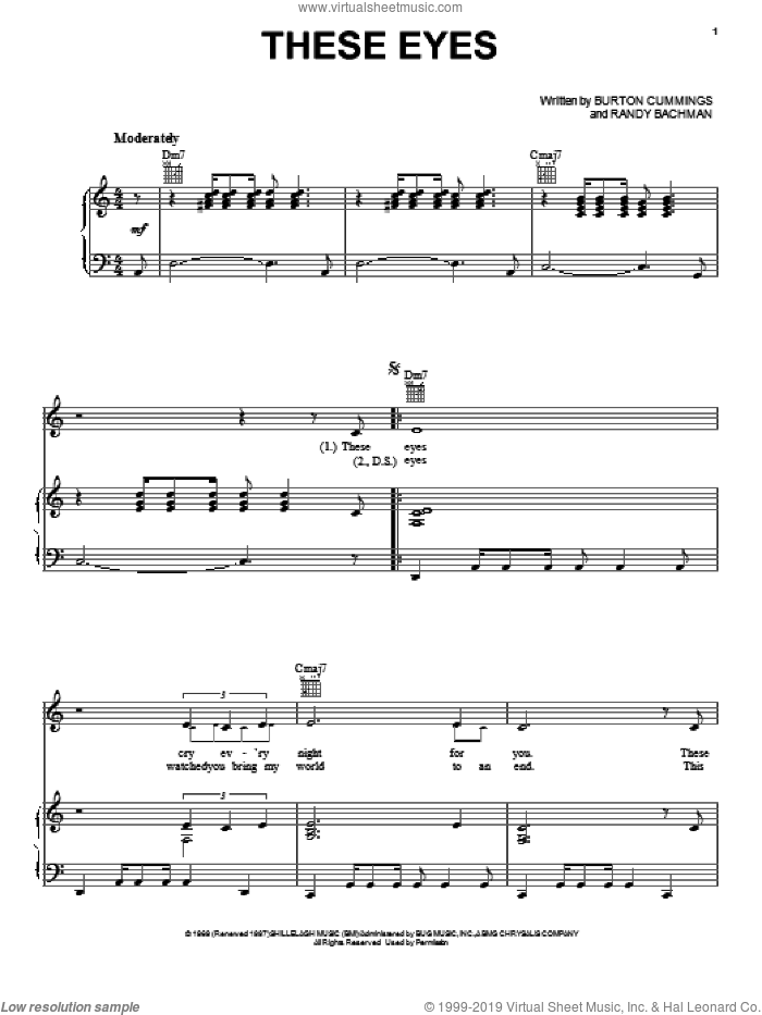 These Eyes sheet music for voice, piano or guitar by The Guess Who, Burton Cummings and Randy Bachman, intermediate skill level
