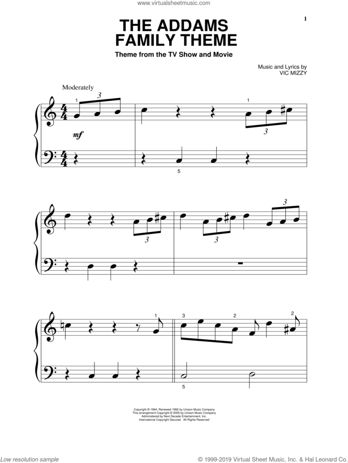 The Addams Family Theme sheet music for piano solo (big note book) by Vic Mizzy, easy piano (big note book)